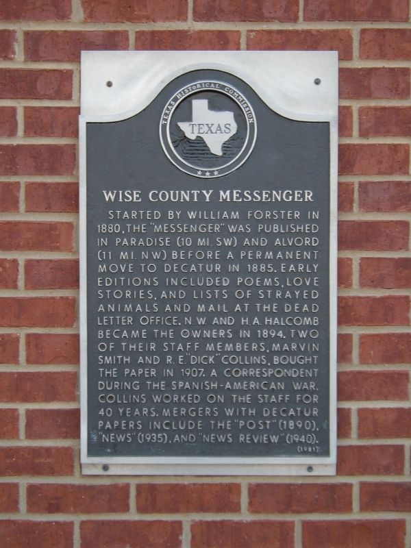 Wise County Messenger Marker image. Click for full size.