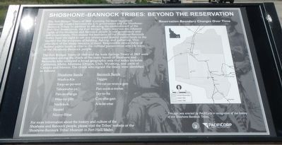 Shoshone-Bannock Tribes: Beyond the Reservation Marker image. Click for full size.
