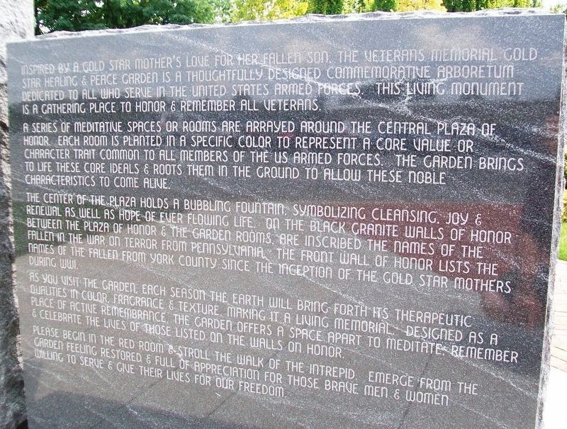 Veterans Memorial Gold Star Healing & Peace Garden Purpose image. Click for full size.