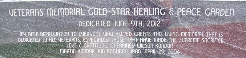 Veterans Memorial Gold Star Healing & Peace Garden Dedication image. Click for full size.