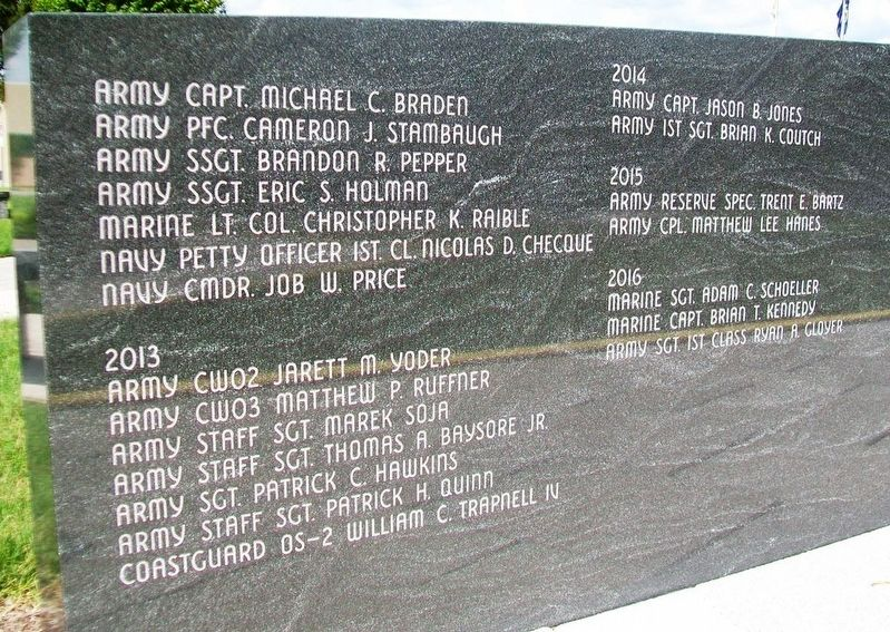 Veterans Memorial Gold Star Healing & Peace Garden Roll of Honored Dead image. Click for full size.