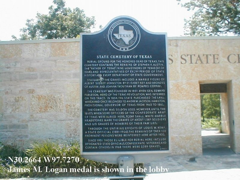 Texas State Cemetery entrance image. Click for full size.