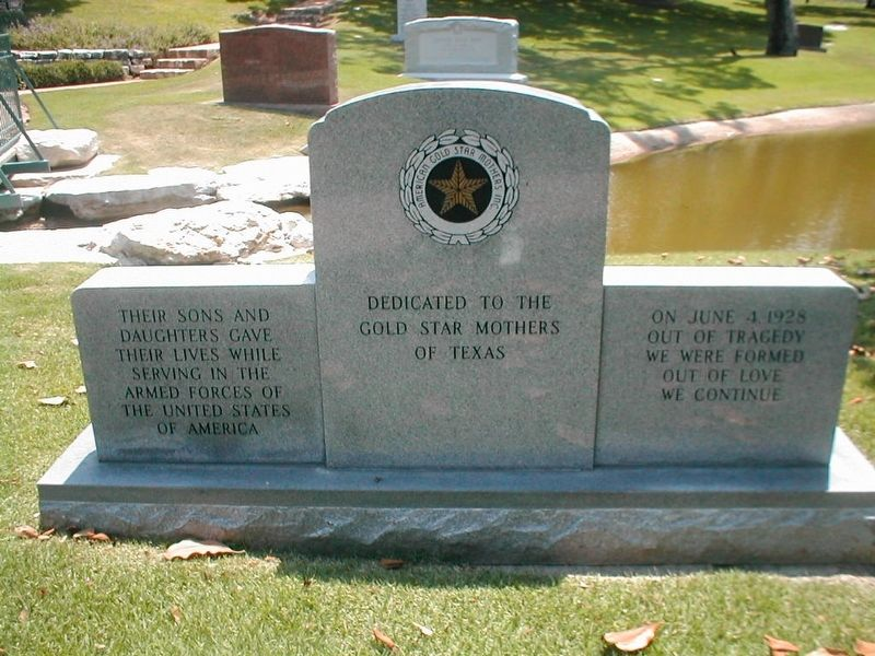 Gold Star Mothers of Texas Monument Marker image. Click for full size.