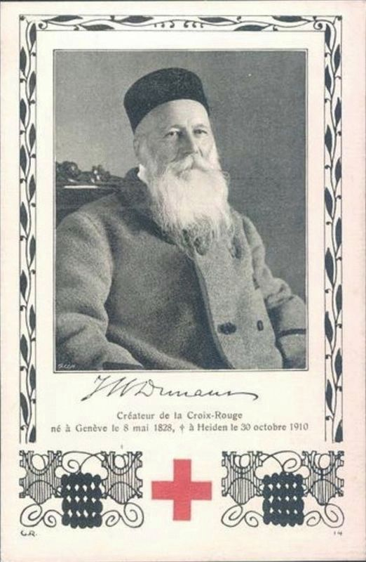 Henry Dunant and the Red Cross - Commemorative Postcard image. Click for full size.