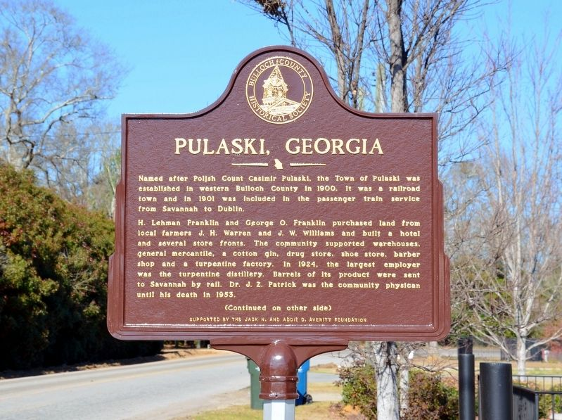 Pulaski, Georgia Marker (Side 1) image. Click for full size.