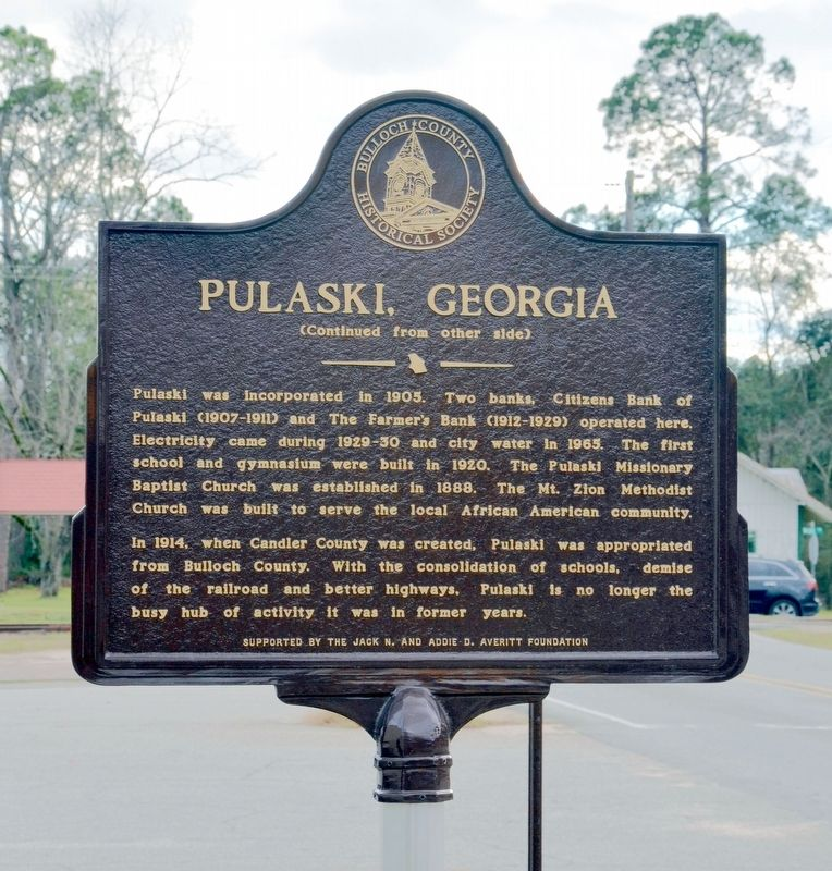 Pulaski, Georgia Marker (Side 2) image. Click for full size.