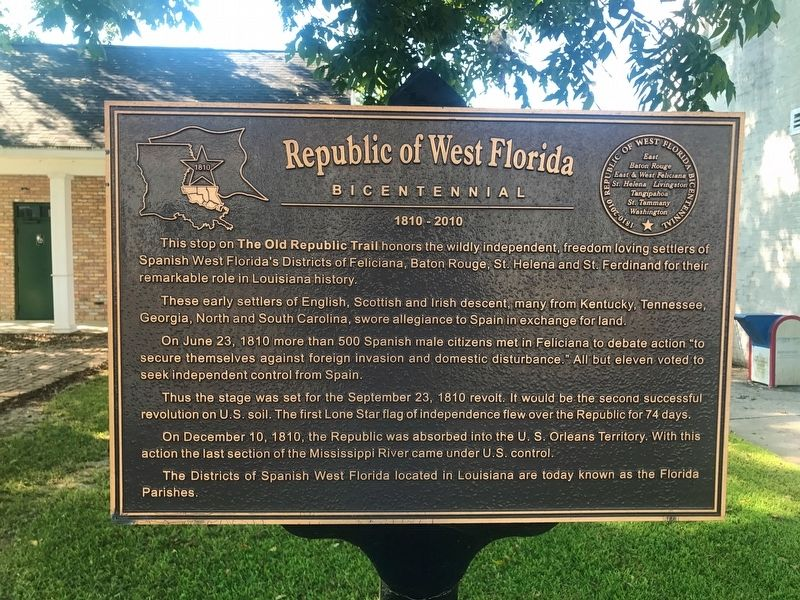 Republic of West Florida Marker image. Click for full size.