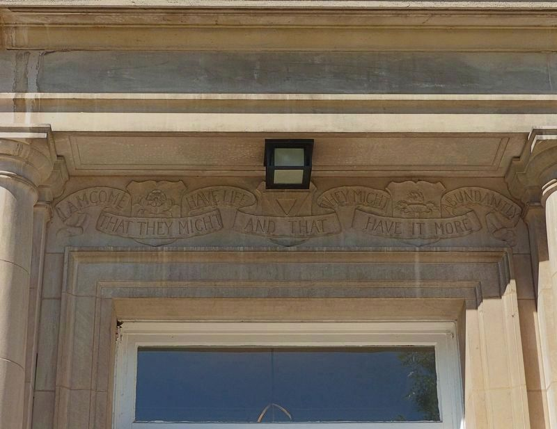 Inscription over the Front Door image. Click for full size.