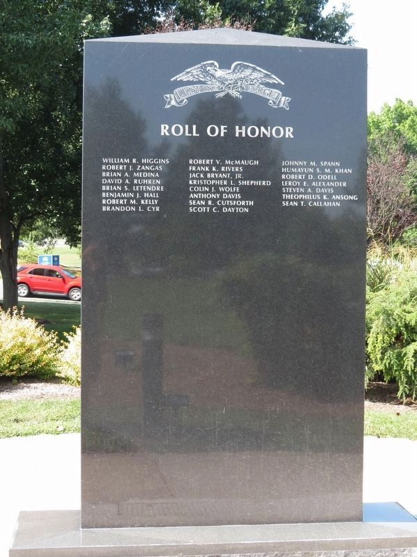 Roll of Honor Marker - Reverse image. Click for full size.