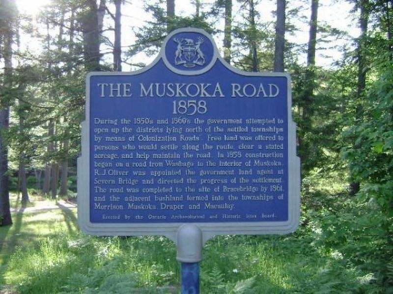 The Muskoka Road 1858 Marker image. Click for full size.