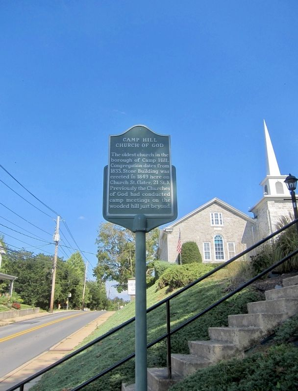 Camp Hill Church of God Marker - Wide View, Looking North on 21st Street image. Click for full size.