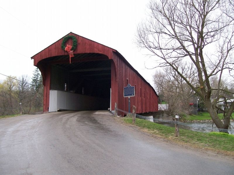 The West Monrose Covered Bridge and Marker image. Click for full size.