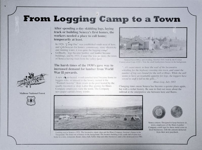 From Logging Camp to a Town Marker image. Click for full size.