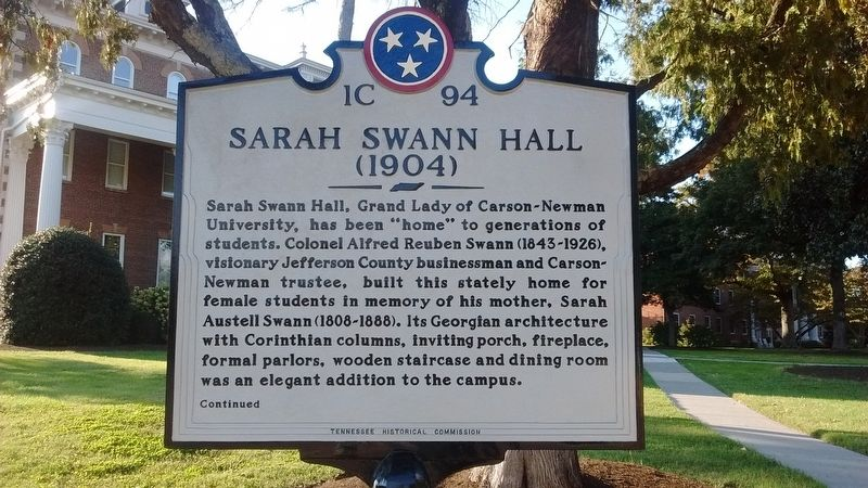 Sarah Swann Hall Marker (Side 1) image. Click for full size.