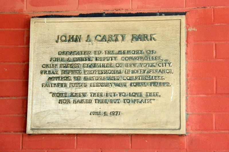 John J. Carty Park Marker image. Click for full size.