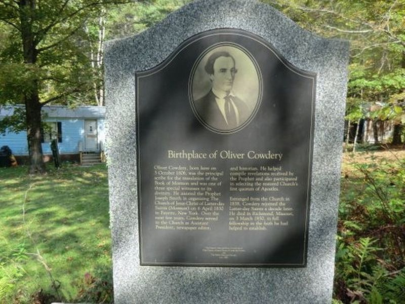 Birthplace of Oliver Cowdery Marker image. Click for full size.
