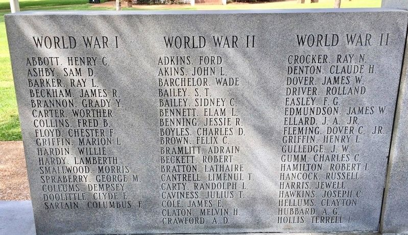 Calhoun County War Memorial (left side - WWI & WWII) image. Click for full size.