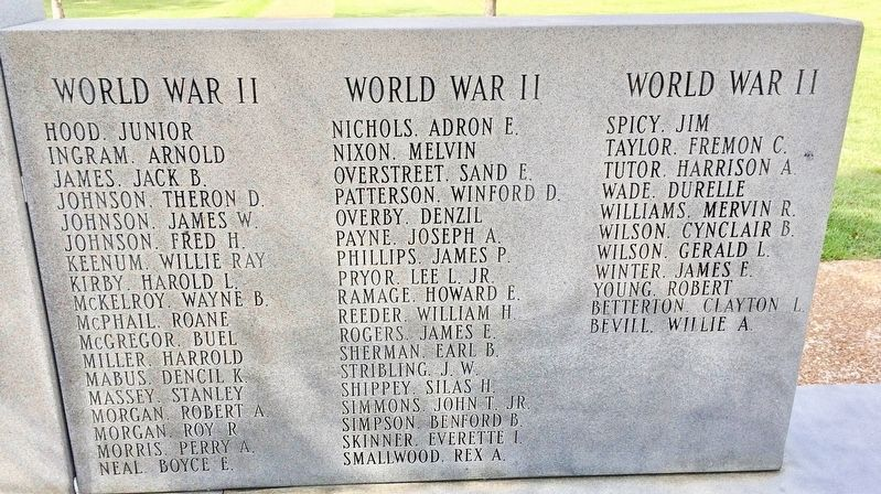 Calhoun County War Memorial (right side - WWII) image. Click for full size.