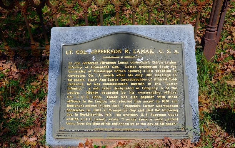 Lt. Col. Jefferson M. Lamar, C.S.A. Marker image. Click for full size.