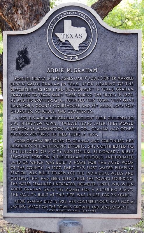 Addie M. Graham Texas Historical Marker image. Click for full size.