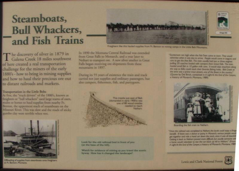 Steamboats, Bull Whackers, and Fish Trains Marker image. Click for full size.