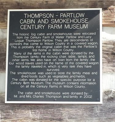 Thompson-Partlow Cabin and Smokehouse Marker image. Click for full size.