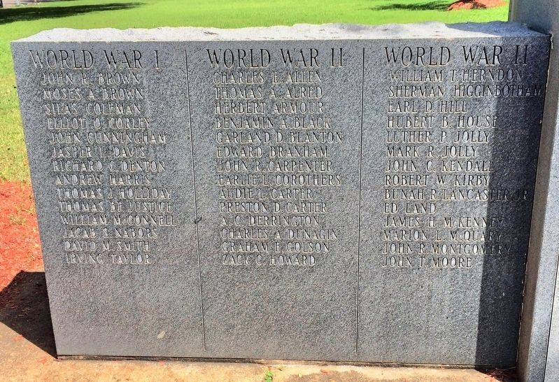 List of WWI & WWII names on left side. image. Click for full size.