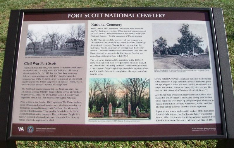 Fort Scott National Cemetery Marker image. Click for full size.