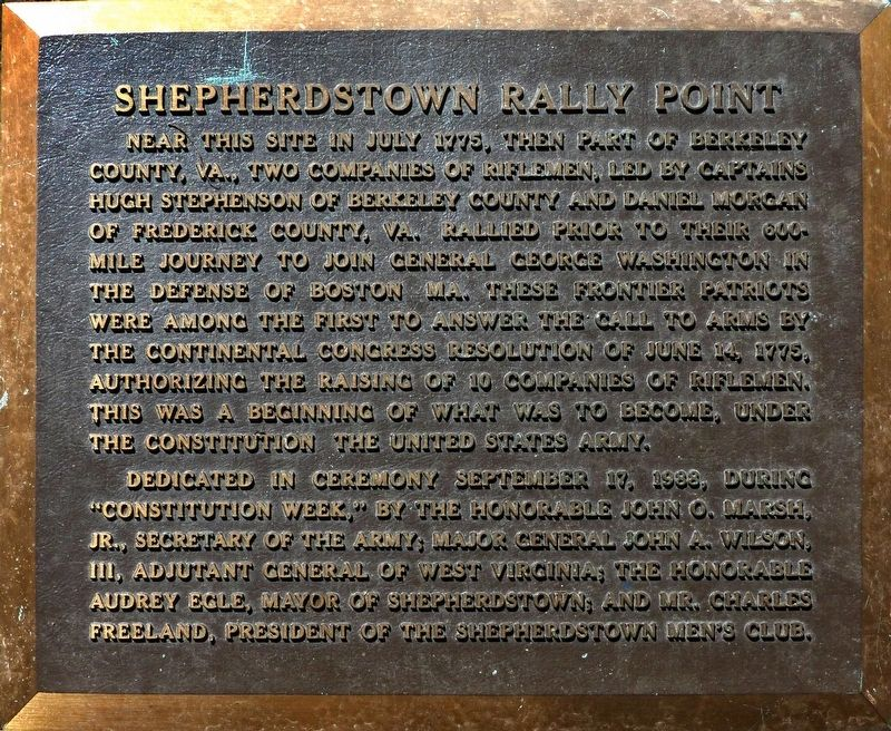 Shepherdstown Rally Point Marker image. Click for full size.