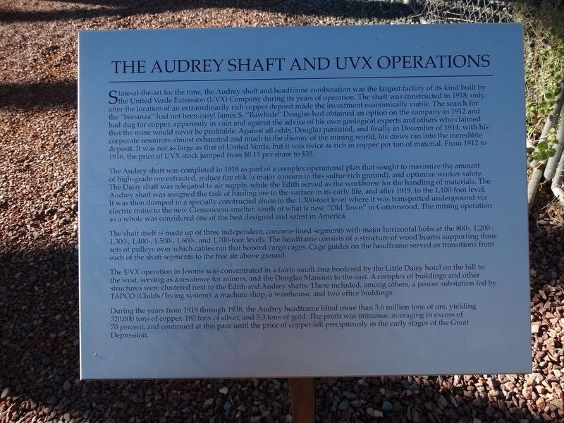 The Audrey Shaft and UVX Operations Marker image. Click for full size.
