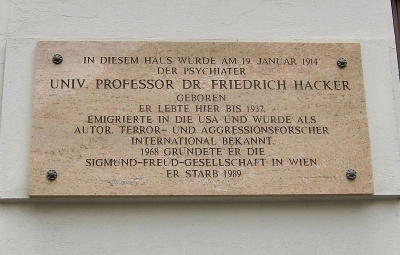 Professor Friedrich Hacker Marker image. Click for full size.