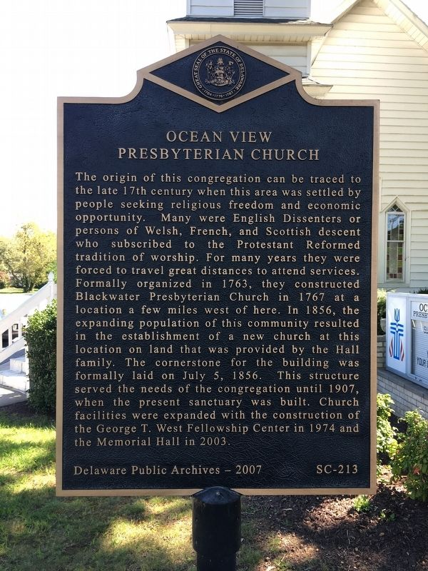 OCEAN VIEW PRESBYTERIAN CHURCH Marker image. Click for full size.