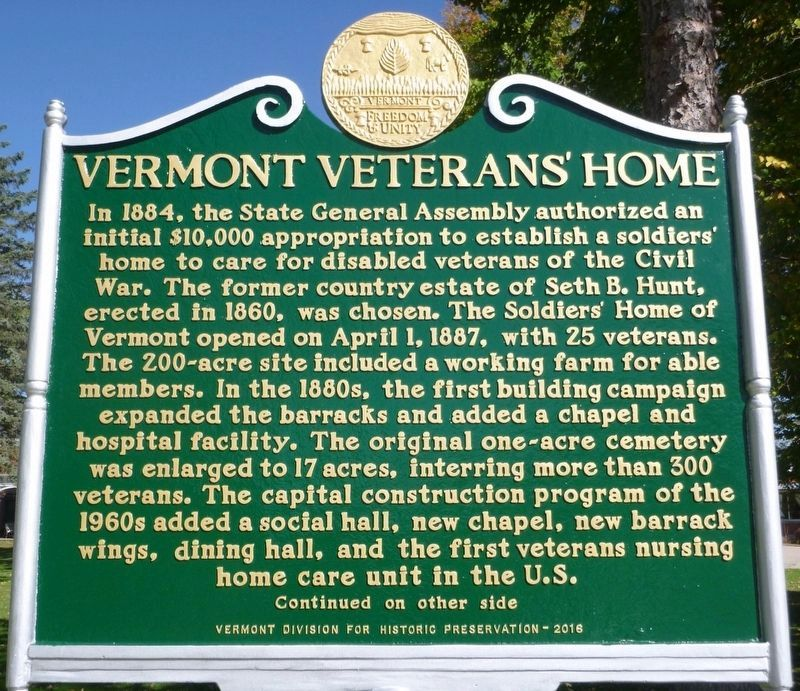 Vermont Veterans' Home Marker Side 1 image. Click for full size.