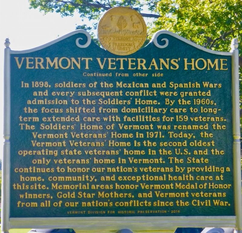 Vermont Veterans' Home Marker Side 2 image. Click for full size.