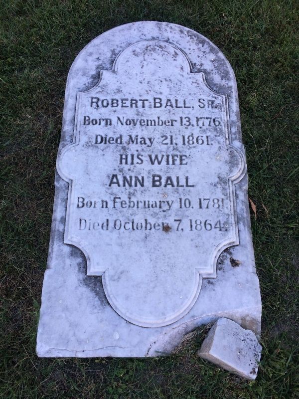 One of the gravestones from the small Ball Family graveyard. image. Click for full size.