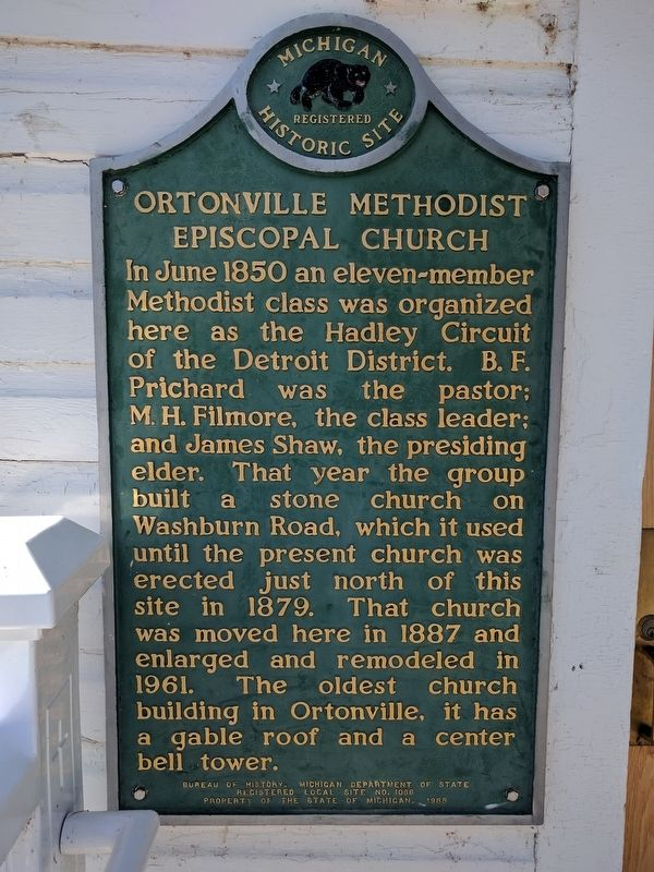 Ortonville Methodist Episcopal Church Marker image. Click for full size.