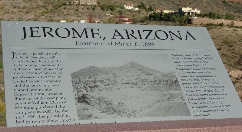 Jerome, Arizona Marker image. Click for full size.
