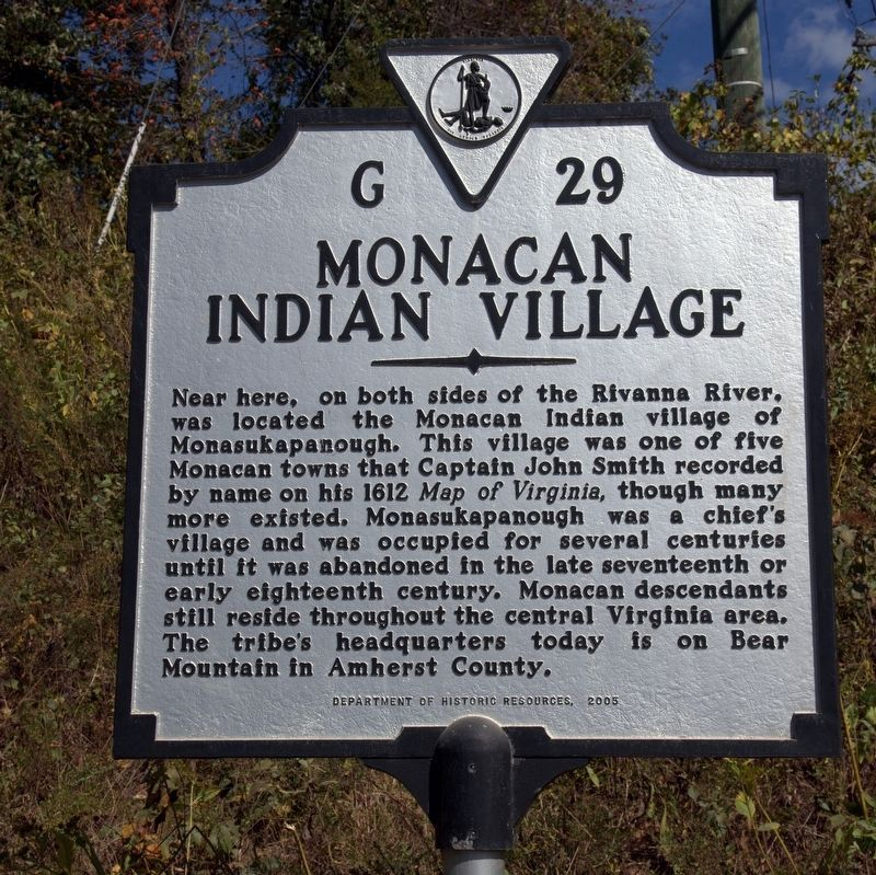 Monacan Indian Village Marker image. Click for full size.