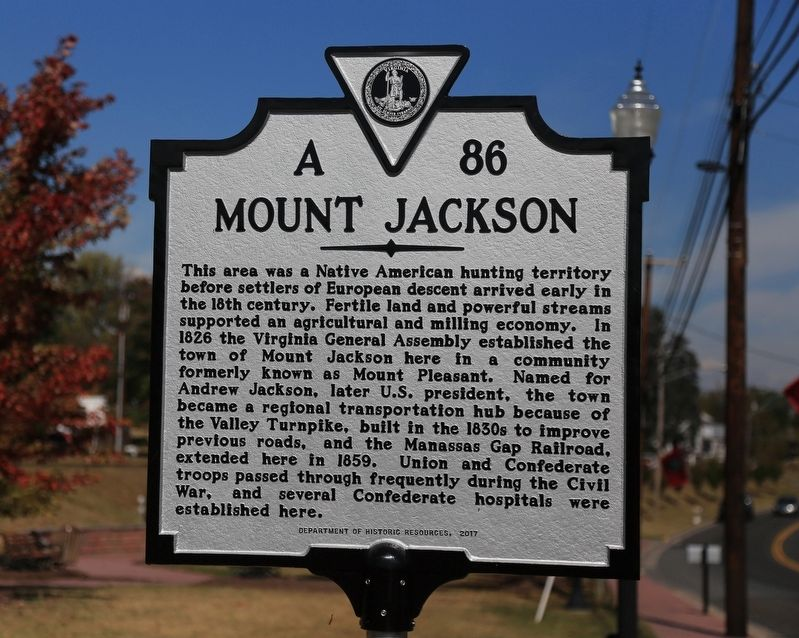 Mount Jackson Marker image. Click for full size.