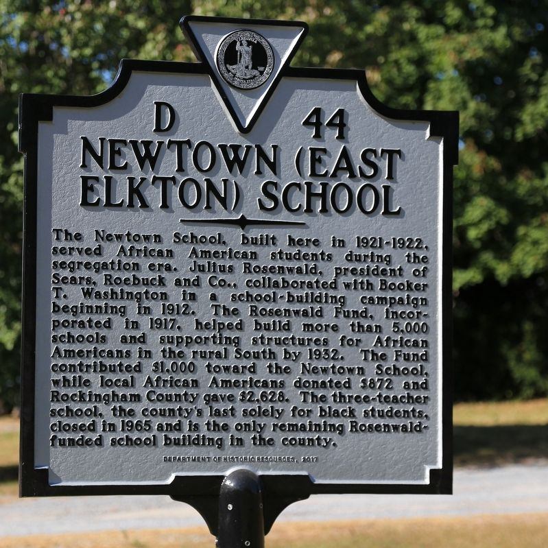 Newtown (East Elkton) School Marker image. Click for full size.
