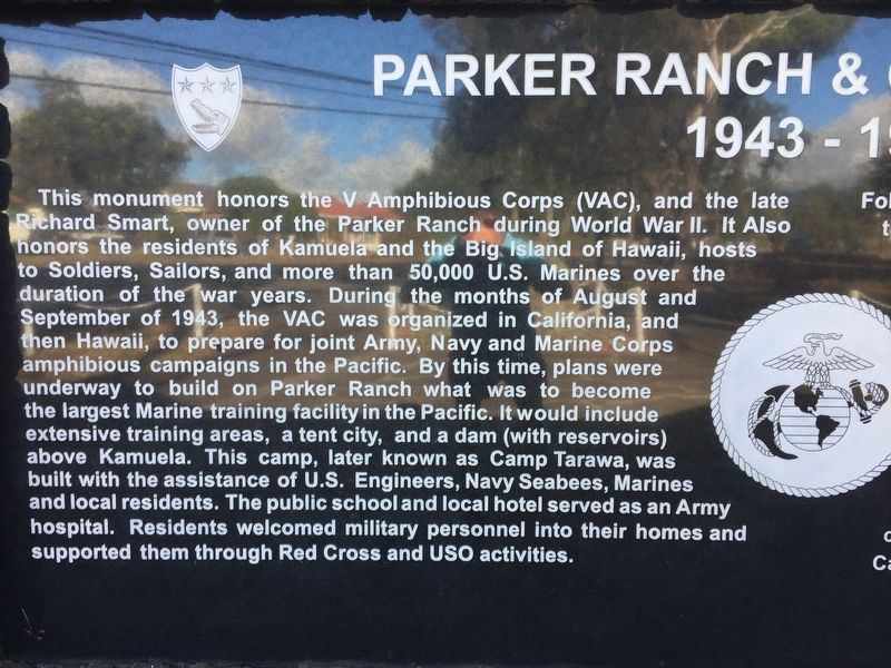 Parker Ranch & Camp Tarawa 1943-1945 stone, left-half image. Click for full size.
