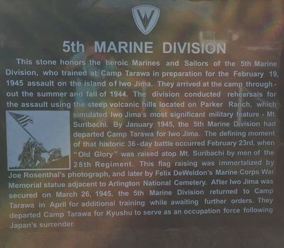 5th Marine Division stone image. Click for full size.