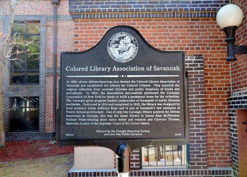 Colored Library Association of Savannah Marker image. Click for full size.