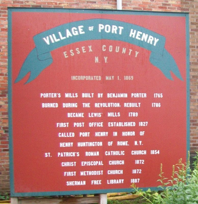 Village of Port Henry Marker image. Click for full size.