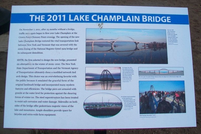 The 2011 Lake Champlain Bridge Marker image. Click for full size.