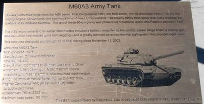 M60A3 Army Tank Marker image. Click for full size.