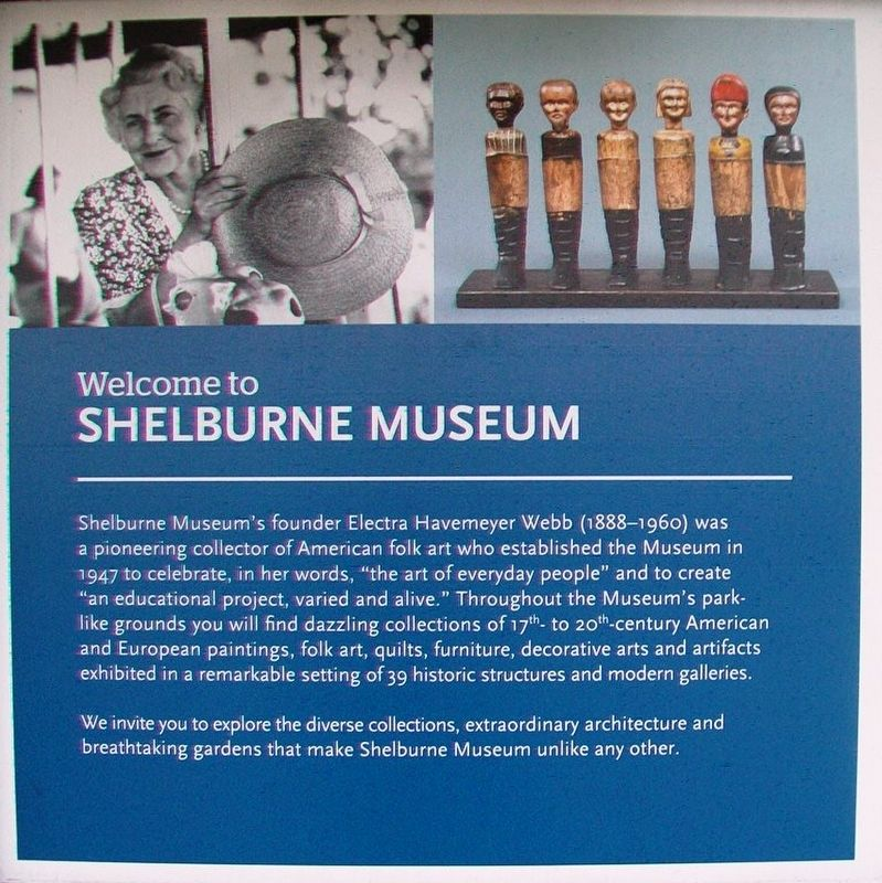 Welcome to Shelburne Museum Marker image. Click for full size.