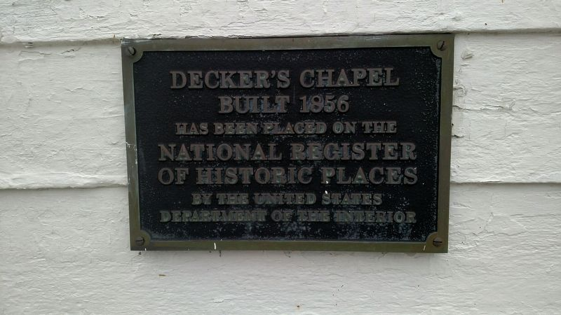 Decker's Chapel National Register of Historic Places Marker image. Click for full size.
