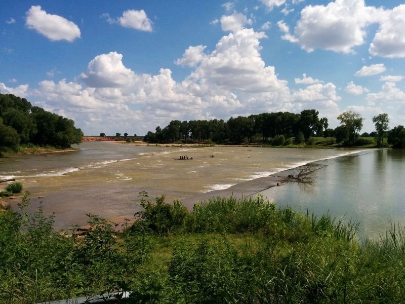 Brazos River seen from Falls of the Brazos Park at normal flow. image. Click for full size.