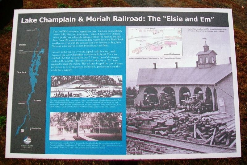 "Lake Champlain & Moriah Railroad: The ""Elsie and Em"" Marker image. Click for full size."